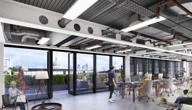 20 Farringdon Street - Office Interior, alternative ceiling option for Level 11